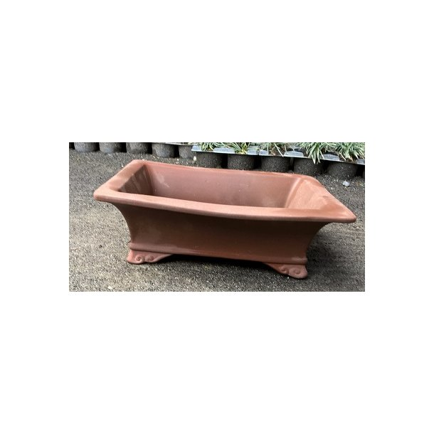 Bonsai skål- Uglaserede, Rød brun, firkant med fod