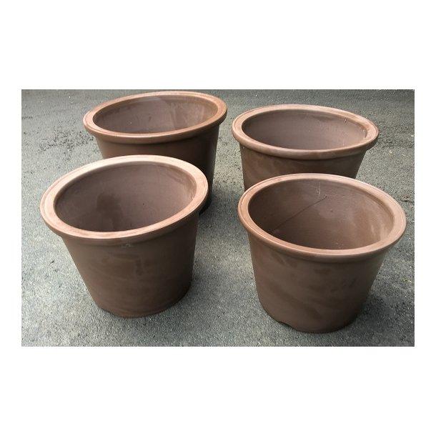 Bonsai skåle 4 sæt - Uglaserede, Brun, Rund, Høj