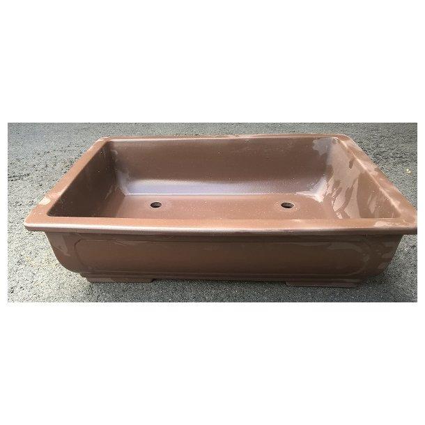 Bonsai skål - Uglaseret,Brun, Rektangulær