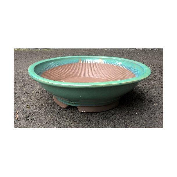 Bonsai skål - Glaseret Grøn, Rund