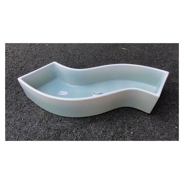 Ikebanaskål - S- formet. Lysblå glasur