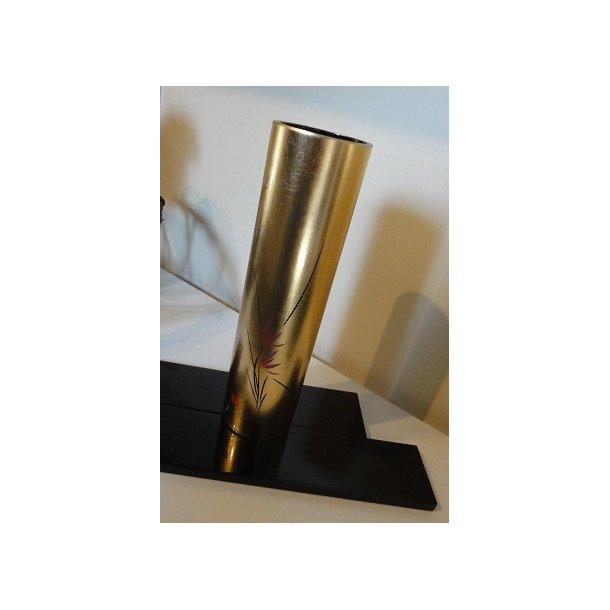 Ikebana vase - Cylinder formet, Guld med blomster