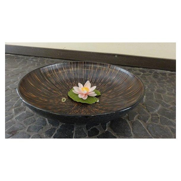 Ikebana skål - Rund, Sort med brun strib som motiv