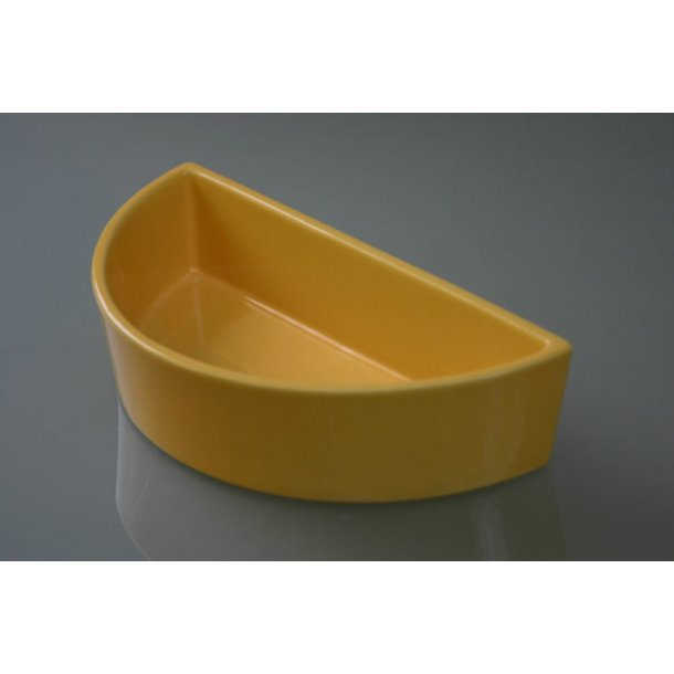 Ikebanaskål, halvrund, gul