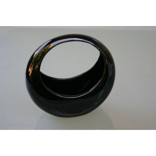 Ikebanaskål, høj, rund sort