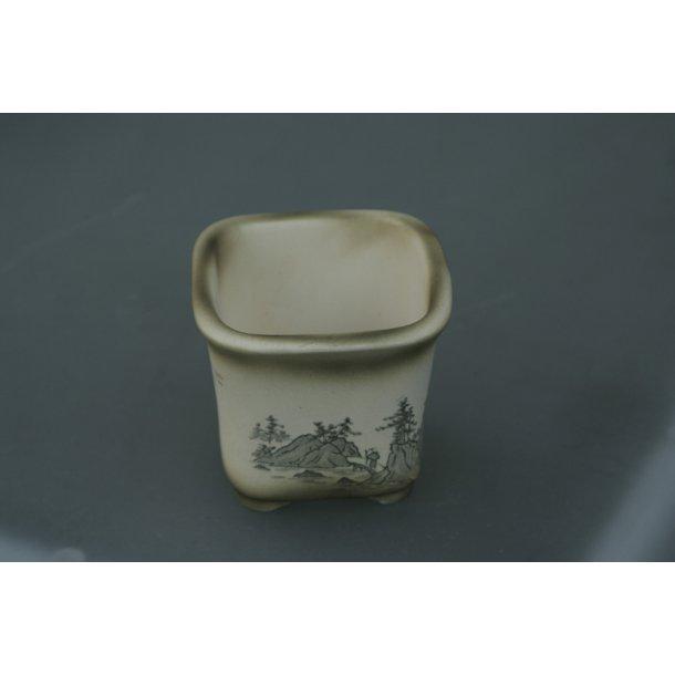 Bonsai skål firkantet med skov motiv