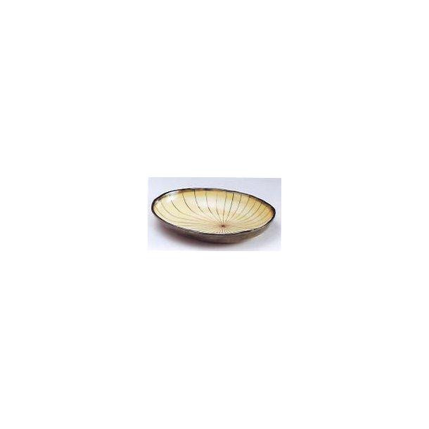 Beige skål med bruget kanter og streger