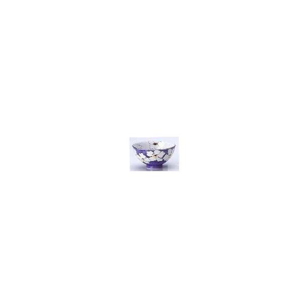 skål blå med hvide blpmster