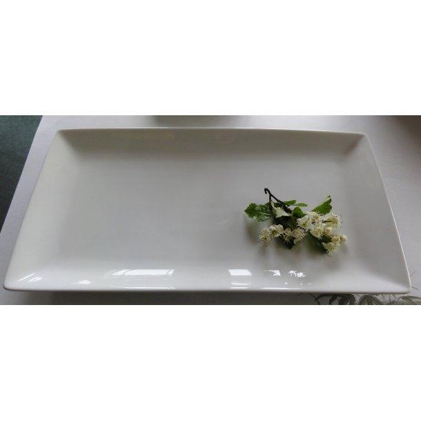 Glaseret hvid Sushi tallerken - Rektangulær