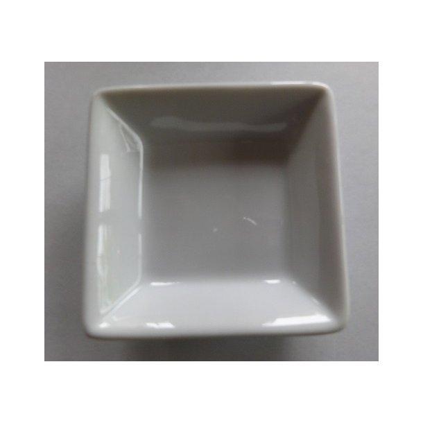 Glaseret hvid firkantet Soja skål - 6x6cm