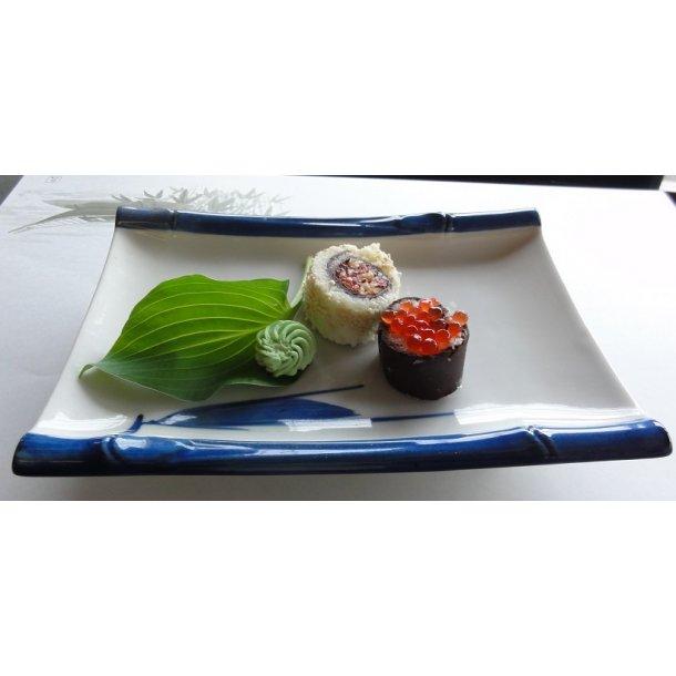Firkantet Sushi tallerken med blå kanten, bambus L