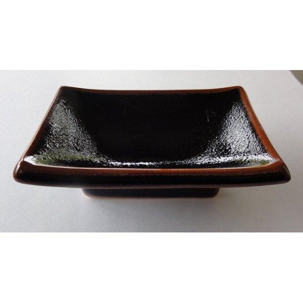Sort firkantet Soja skål med brun kanten
