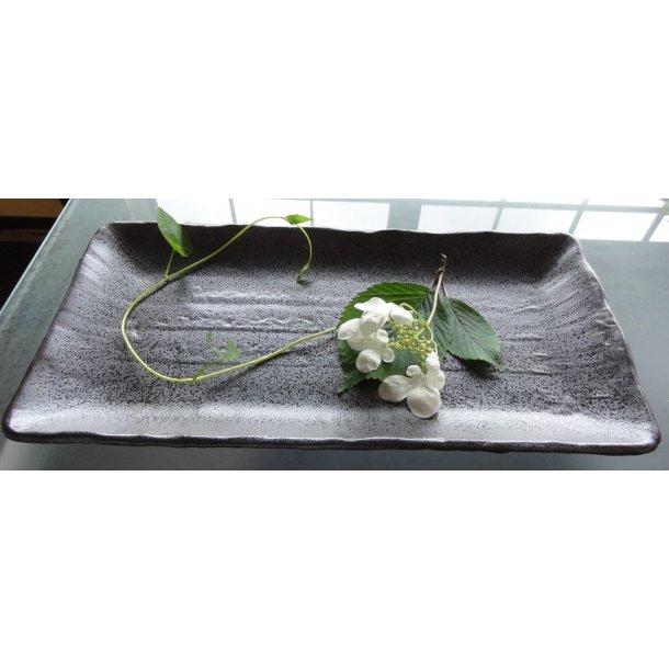 Firkantet Grå med sorte prikker Sushi tallerken M