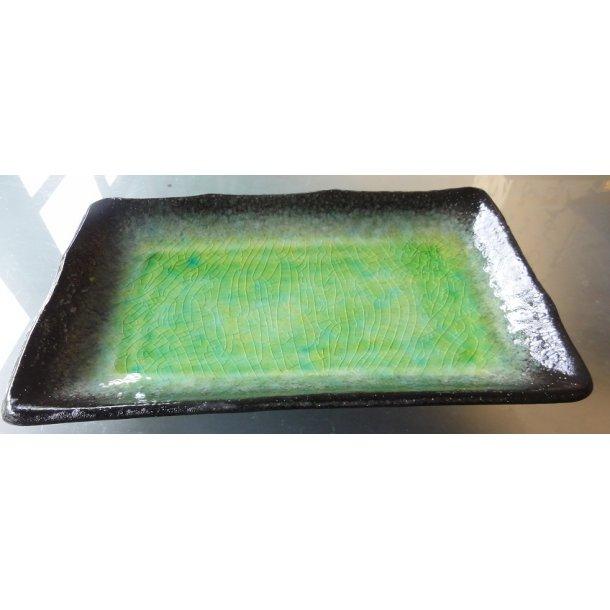Grøn glaseret firkantet Sushi tallerken 21cm