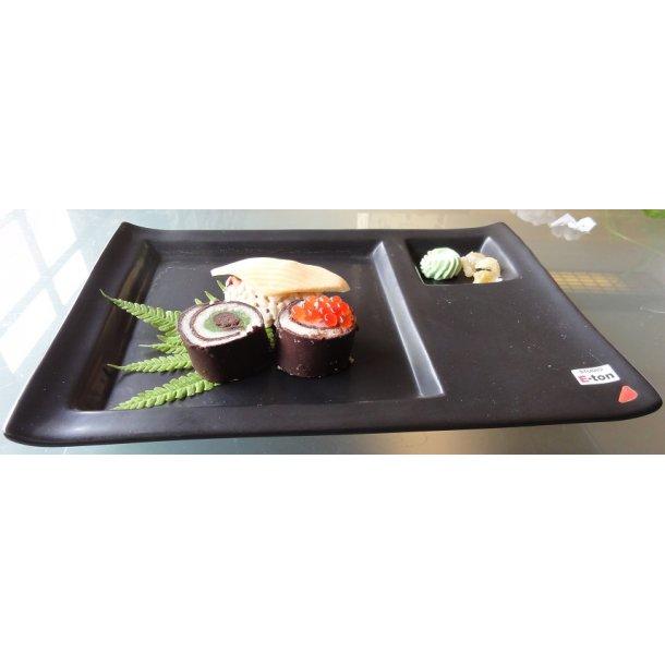 Eton firkantet tallerken-Sort 23cm