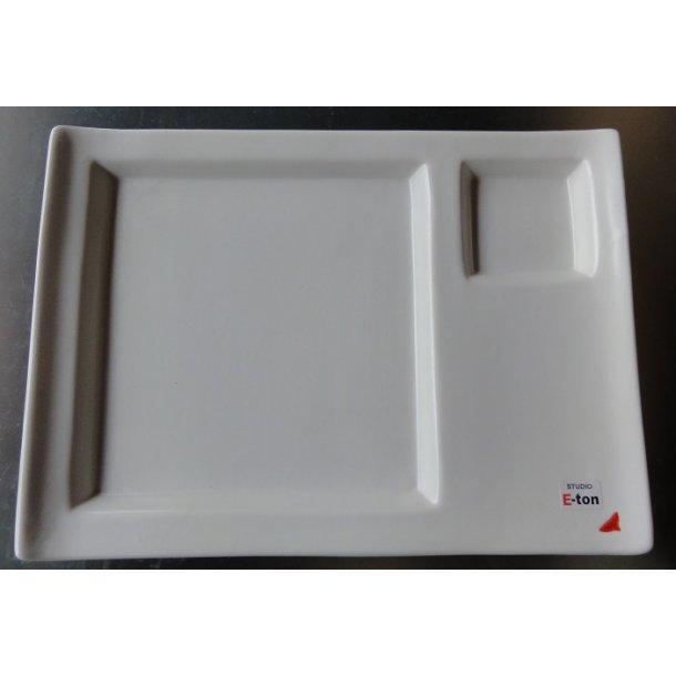Eton firkantet tallerken-Hvid 23cm