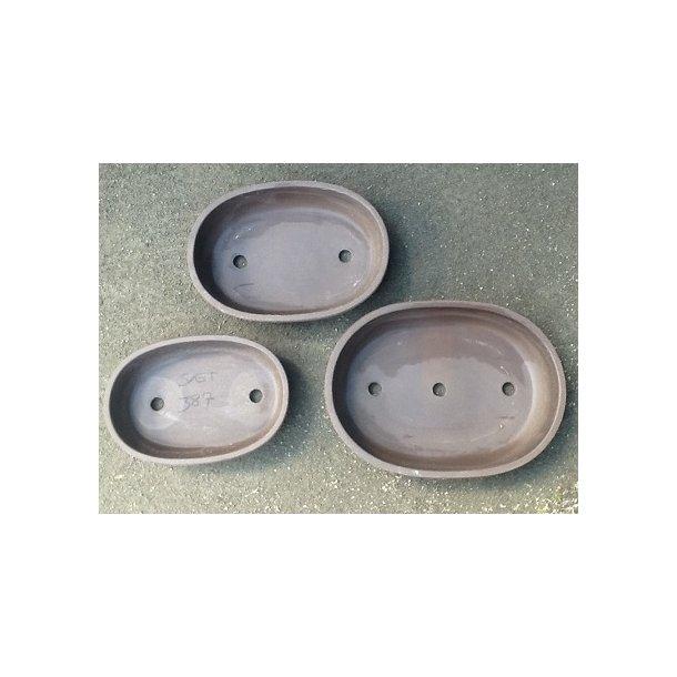 Bonsai skåle sæt - Uglaseret Oval, Brun
