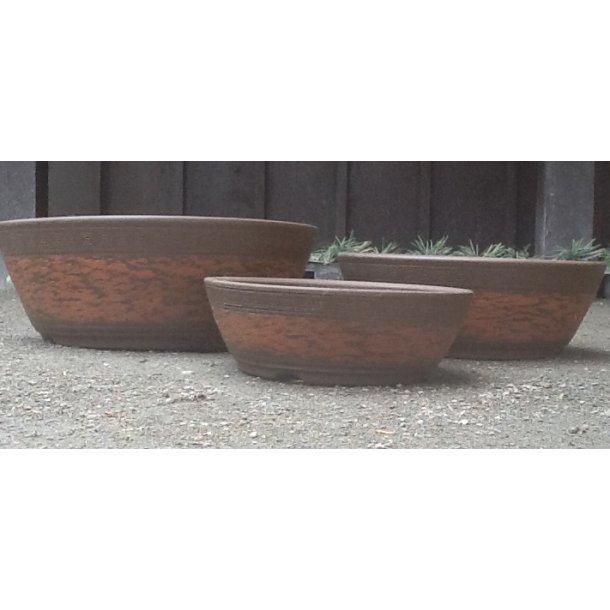 Bonsai skåle sæt med 3 stk - Uglaseret, Rund, Oran