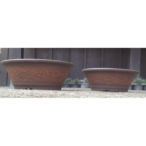 Bonsai skåle sæt - Uglaseret Rund, Orange-Brun