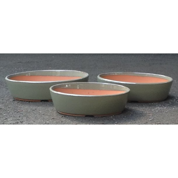 Bonsai skåle 3 sæt - Glaseret, grøn, oval