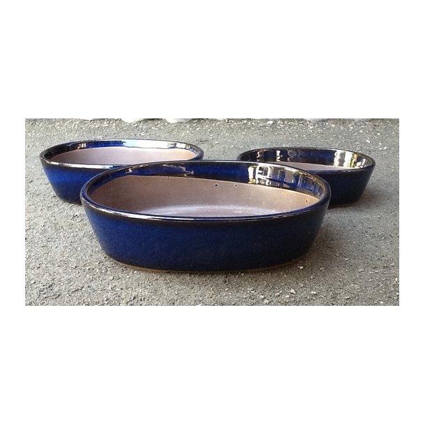 Bonsai skåle 3 sæt - Glaseret, blå, oval