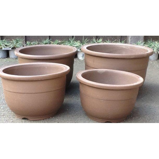 Bonsai skåle 4 sæt - Uglaseret rund, brun
