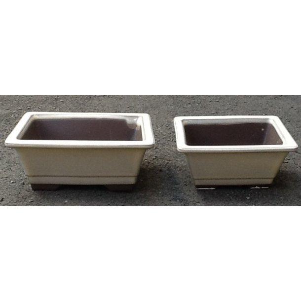 Bonsai mini skåle 2 sæt - Glaseret, Rektangulær