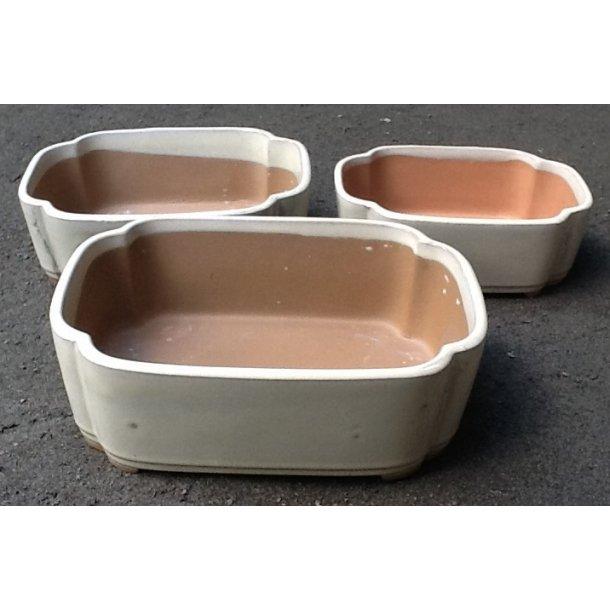 Bonsai skåle 3 sæt - Glaseret,Creme, Rektangulær
