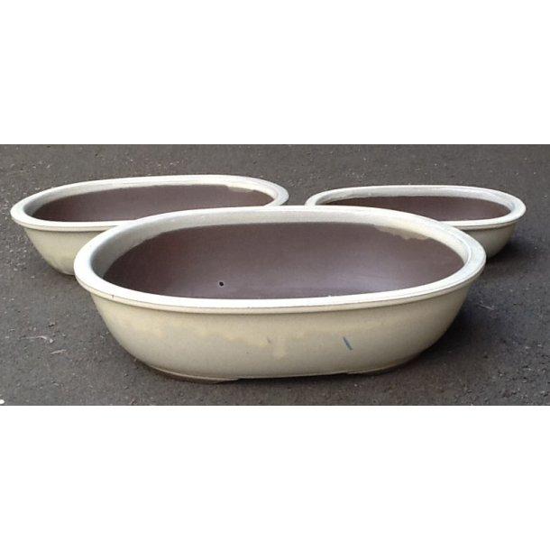 Bonsai skåle 3 sæt - Glaseret, creme farvet, Oval