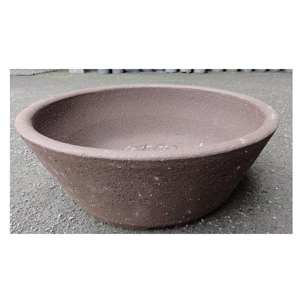 Bonsai skål - Uglaseret, brun, rund
