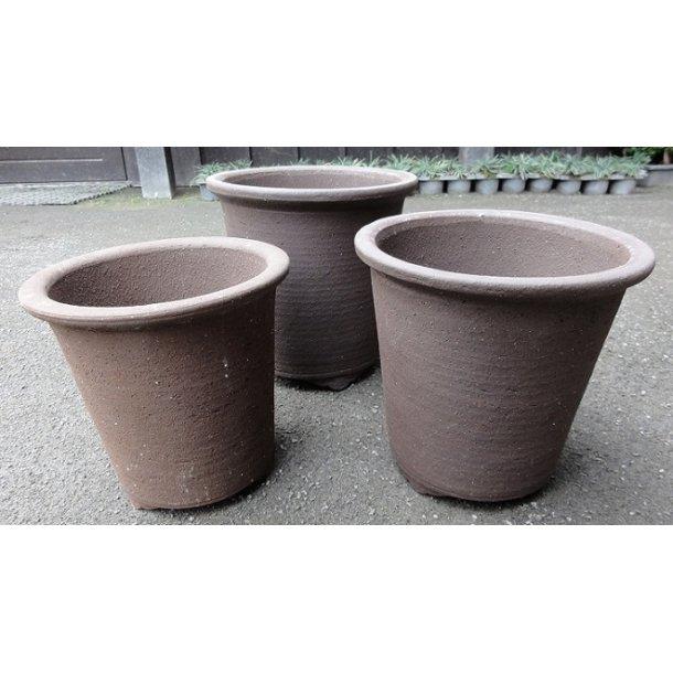 Bonsai skåle 3 sæt - Uglaserede, brun, rund, høj