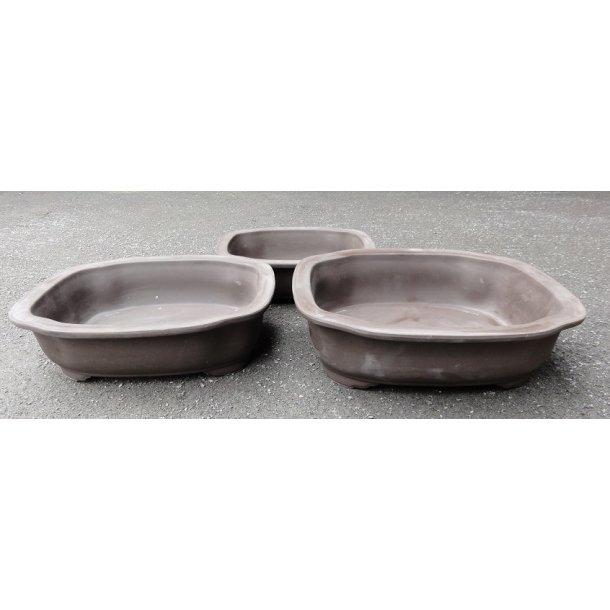 Bonsai skåle 3 sæt - Uglaserede, Brun, Rektangulær