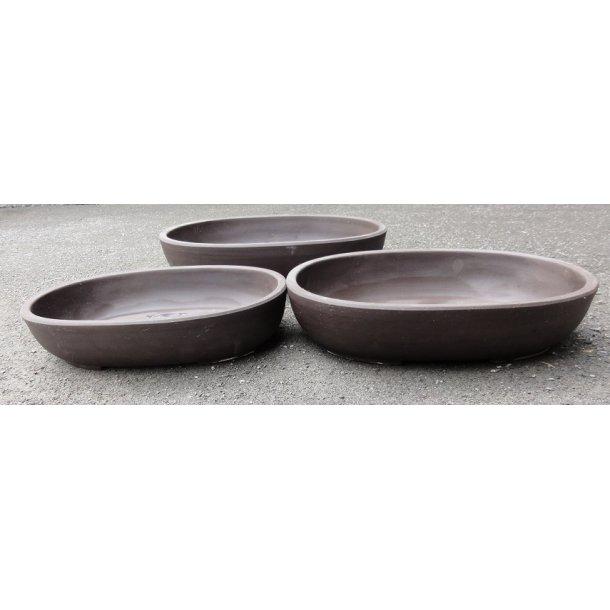 Bonsai skåle 3 sæt - Uglaserede, Brun, Oval