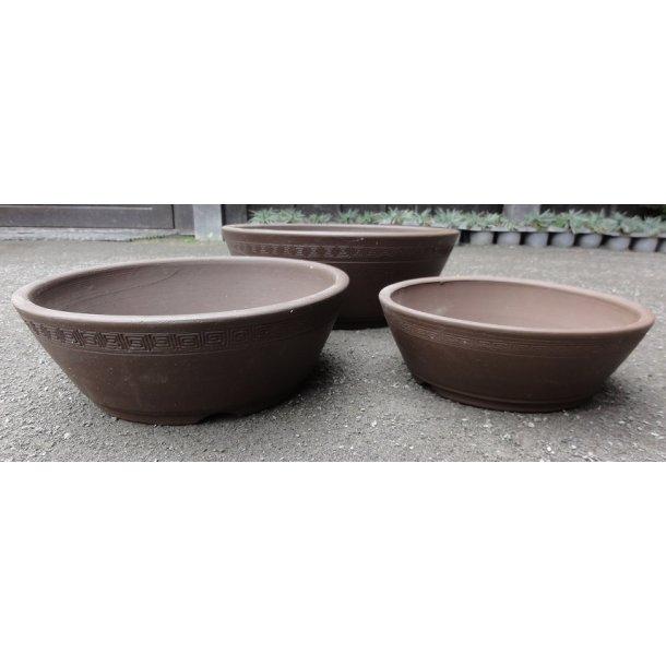 Bonsai skåle 3 sæt - Uglaserede, Brun, Rund