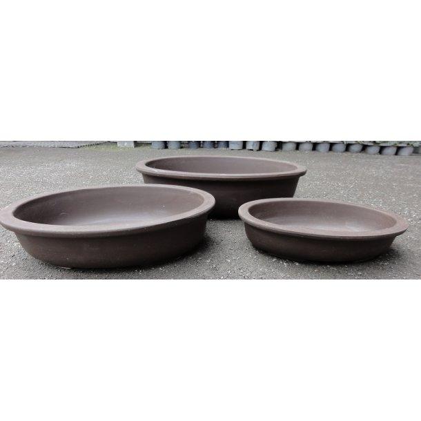 Bonsai skål 3 sæt - Uglaserede, Brun, Oval