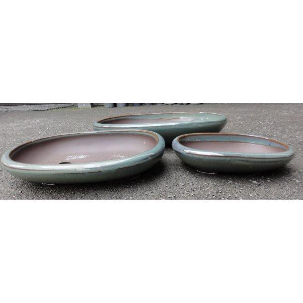 Bonsai Skåle 3 sæt - Glaserede Grøn, Oval, Lav