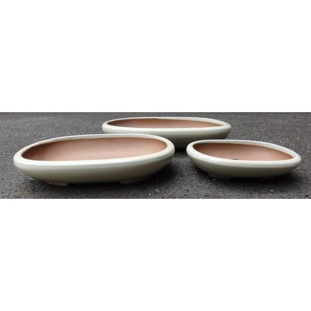 Bonsai skåle 3 sæt - Glaserede, Creme, Oval, Lav