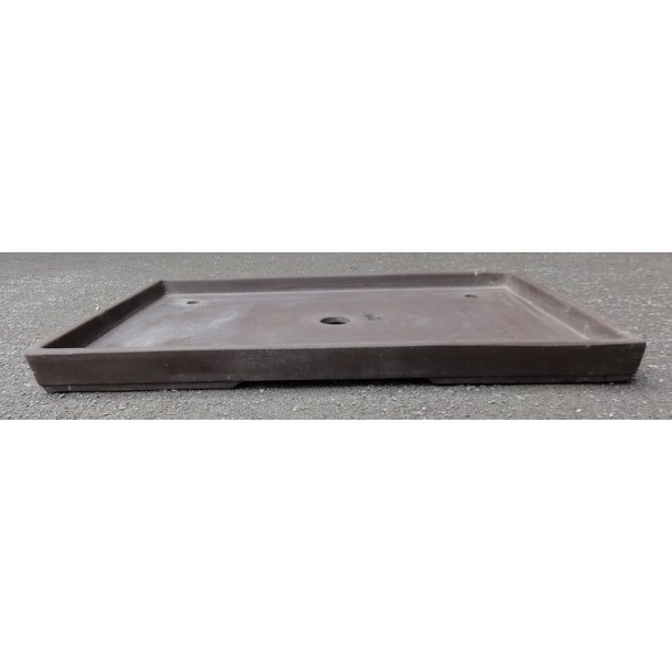 Bonsai skål - Uglaseret, Brun, Rektangulær, Lav