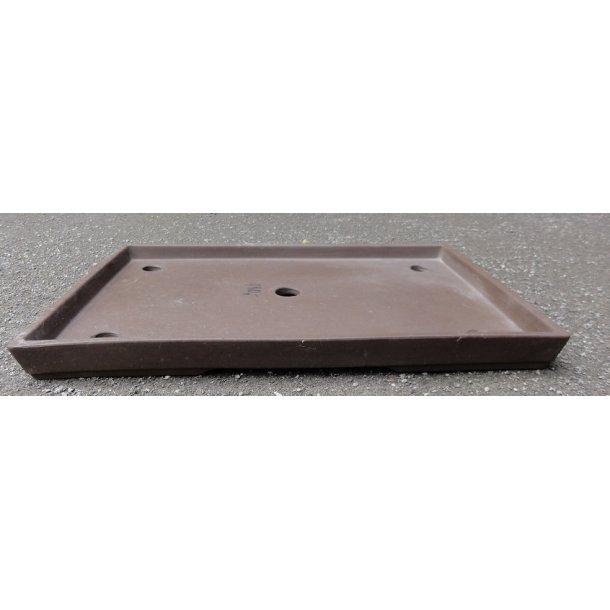 Bonsai skål - Uglaseret,Brun, Rektangulær,Lav