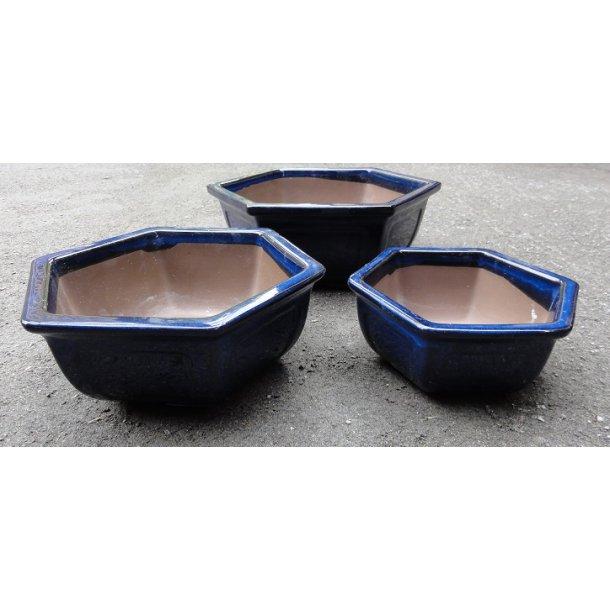 Bonsai skåle 3 i et sæt -  Glaserede, Blå, Sekskantet