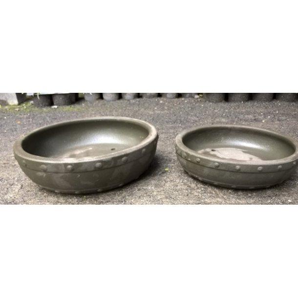 Bonsai skåle 2 sæt- Uglaserede, Mørkgrå, Rund
