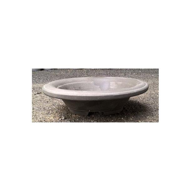Bonsai skål- Uglaserede, Mørkegrå, Oval med fod