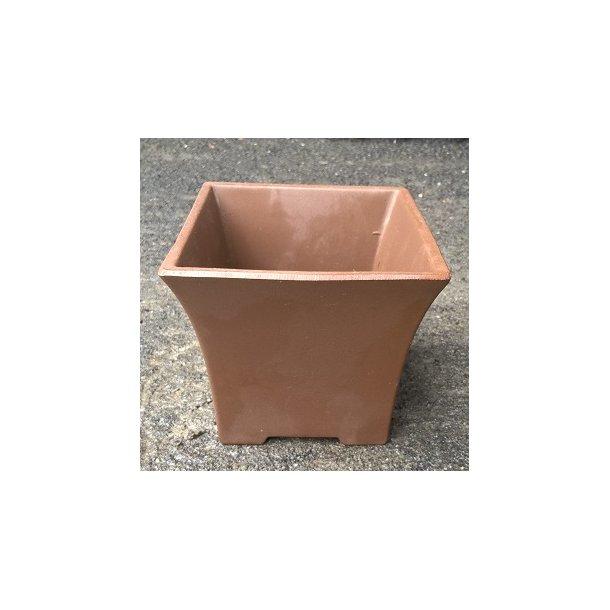 Bonsai skål - uglaserede, høj,firkant, brun