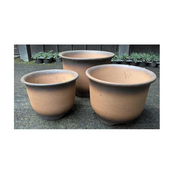 Bonsai skåle 3 sæt - uglaserede, rund, brun farvet