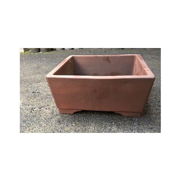 Bonsai skål - Uglaseret, brun, firkant form 23 cm