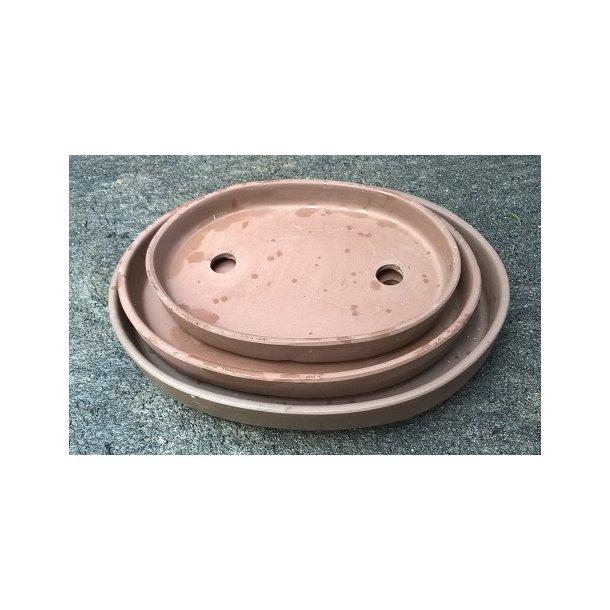 Bonsai skåle 3 sæt- Uglaserede, Brun, Oval.