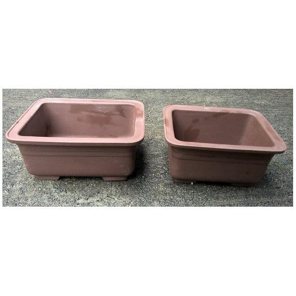 Bonsai skåle 2 sæt - Uglaserede, Brun, firkant
