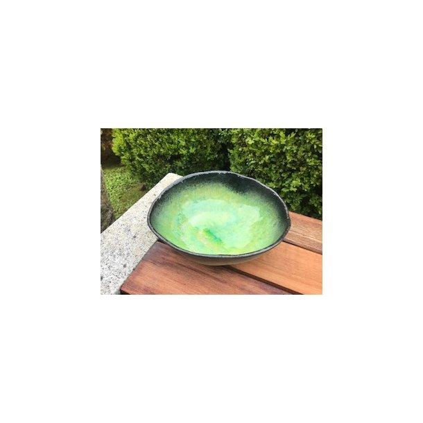Skål stor med grøn glasur